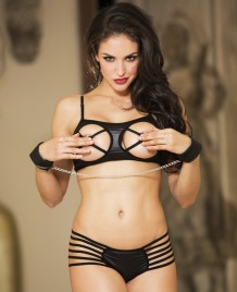 Enticement Black SleepWear Bra & Bikini Sets