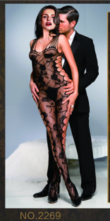 Black Black Polyester Polyester Round Neck Slinky Fishnet See Thought Nightwear With G-sting Valentine Lingerie