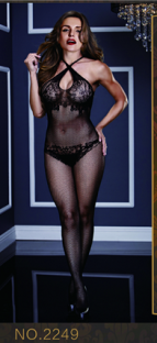 Ultra Sexy Black Polyester Halter Cupless See Thought SleepWear Valentine Lingerie