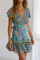 Lake Blue Polyester Fashion Sexy Cap Sleeve Short Sleeves V Neck A-Line Mini Print Patchwork  Print Dresses LM271475