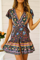 Dark Blue Polyester Fashion Sexy Cap Sleeve Short Sleeves V Neck A-Line Mini Print Patchwork  Print Dresses LM271475