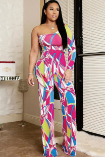 Pink Fashion Sexy Patchwork Print Long Sleeve one shoulder collar  Jumpsuits MT741179