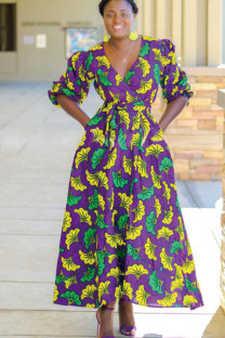 purple Polyester Fashion Sexy Cap Sleeve Half Sleeves V Neck A-Line Ankle-Length Print Patchwork  African Clothing CM401170