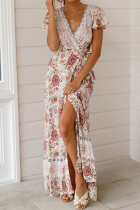 Pink Polyester Fashion Sexy Cap Sleeve Short Sleeves V Neck A-Line Ankle-Length split Patchwork Print  Print Dresses LM271478