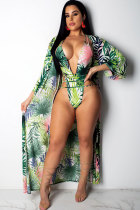 Green Polyester bandage Patchwork backless Hooded Out Print Fashion Sexy  Bikinis Set YOU801173