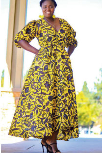 Yellow Polyester Fashion Sexy Cap Sleeve Half Sleeves V Neck A-Line Ankle-Length Print Patchwork  African Clothing CM401170