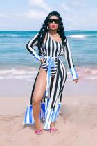 Blue Polyester Striped Print Patchwork Sexy Fashion Casual  QM311185