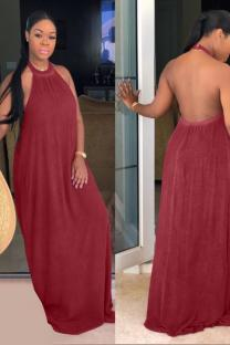 Wine Red Fashion Sexy Off The Shoulder Sleeveless O neck Straight Floor-Length Solid Patchwork backless  Maxi Dresses CQ711165