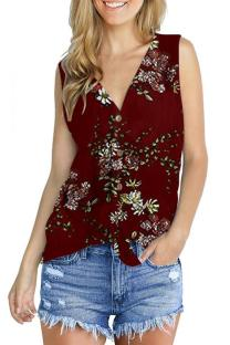 Red Polyester V Neck Sleeveless asymmetrical Print Button Floral  Sweaters & Cardigans DL334619