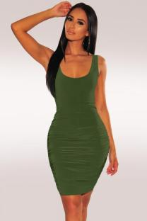 Army Green Polyester Fashion Sexy Spaghetti Strap Sleeveless Slip Sheath Knee-Length Draped Solid  Party and Cocktail Dresses LR2610137