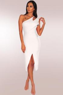 White Polyester Fashion Sexy One Shoulder Sleeveless Asymmetrical Collar Sheath Mid-Calf hole Solid asymmetrical split hollow out  Party and Cocktail Dresses LR2610136