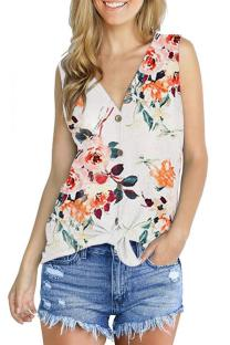 White Polyester V Neck Sleeveless asymmetrical Print Button Floral  Sweaters & Cardigans DL334619