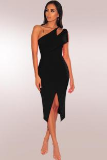 Black Polyester Fashion Sexy One Shoulder Sleeveless Asymmetrical Collar Sheath Mid-Calf hole Solid asymmetrical split hollow out  Party and Cocktail Dresses LR2610136
