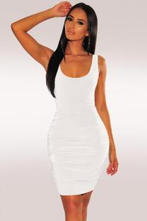 White Polyester Fashion Sexy Spaghetti Strap Sleeveless Slip Sheath Knee-Length Draped Solid  Party and Cocktail Dresses LR2610137