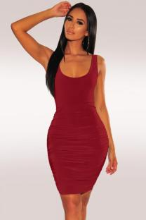 Wine Red Polyester Fashion Sexy Spaghetti Strap Sleeveless Slip Sheath Knee-Length Draped Solid  Party and Cocktail Dresses LR2610137