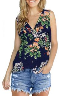 Green Polyester V Neck Sleeveless asymmetrical Print Button Floral  Sweaters & Cardigans DL334619