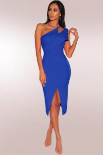 Blue Polyester Fashion Sexy One Shoulder Sleeveless Asymmetrical Collar Sheath Mid-Calf hole Solid asymmetrical split hollow out  Party and Cocktail Dresses LR2610136