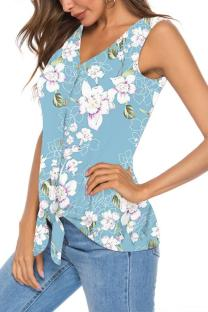 Light Blue Polyester V Neck Sleeveless asymmetrical Print Button Floral  Sweaters & Cardigans DL334619