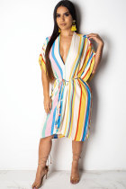 White Polyester Fashion Sexy Cap Sleeve Short Sleeves V Neck A-Line Knee-Length asymmetrical Print Striped Patchwork  Print Dresses LO441201
