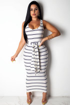 White Polyester Sexy Fashion Tank Sleeveless Slip Step Skirt Ankle-Length Patchwork Striped Print  Casual Dresses SD421205