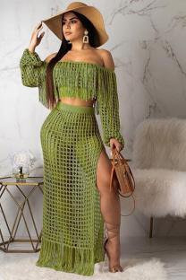 Army Green Polyester Sexy Fashion HOLLOWED OUT Two Piece Suits crop top Split Solid tassel asymmetrical Straight Long Sleeve  Two-Piece Dress TR671213