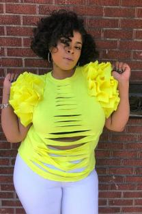 Yellow Polyester O Neck Short Sleeve Hole HOLLOWED OUT asymmetrical ruffle Solid  Tees & T-shirts LL541178