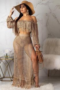 Khaki Polyester Sexy Fashion HOLLOWED OUT Two Piece Suits crop top Split Solid tassel asymmetrical Straight Long Sleeve  Two-Piece Dress TR671213