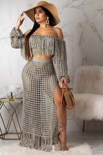 Grey Polyester Sexy Fashion HOLLOWED OUT Two Piece Suits crop top Split Solid tassel asymmetrical Straight Long Sleeve  Two-Piece Dress TR671213