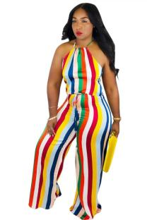 Rainbow color Casual Fashion Asymmetrical bandage Striped Polyester Sleeveless Asymmetrical Collar  Jumpsuits OD631199