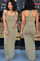 Army Green Polyester Sexy Fashion Spaghetti Strap Sleeveless Slip Step Skirt Floor-Length Striped  Casual Dresses ALS871166