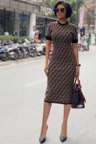 Brown Polyester Casual Fashion Cap Sleeve Short Sleeves O neck Sheath Knee-Length Solid Character Plaid  Print Dresses MM92155