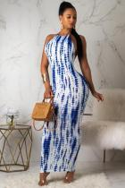 White and blue Polyester Fashion Sexy Off The Shoulder Sleeveless Halter Neck Ball Gown Ankle-Length Argyle  Print Dresses CX821178
