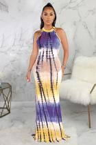 purple Polyester Fashion Sexy Tank Sleeveless O neck Asymmetrical Floor-Length Print Patchwork  Club Dresses SMR391267
