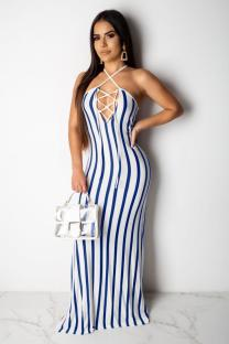 Light Blue Polyester Sexy Fashion Tank Sleeveless O neck Step Skirt Floor-Length Print split Patchwork  Maxi Dresses SMR391275