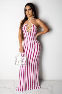 rose red Polyester Sexy Fashion Tank Sleeveless O neck Step Skirt Floor-Length Print split Patchwork  Maxi Dresses SMR391275