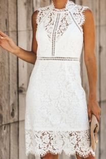 White Polyester Sexy Fashion Cap Sleeve Sleeveless Asymmetrical Collar Slim Dress Knee-Length chain lace asymmetrical Solid  Lace Dresses OS411232