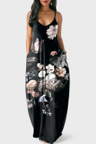 Black Polyester Sexy Fashion Spaghetti Strap Sleeveless Slip A-Line Floor-Length Print backless Patchwork  Print Dresses MO161229