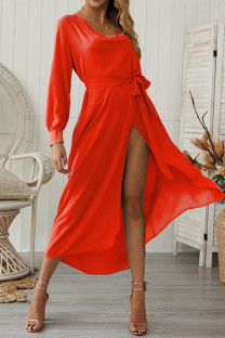 Red Chiffon Sexy Fashion Long Sleeves V Neck A-Line Mid-Calf bandage Solid  Casual Dresses GG451167