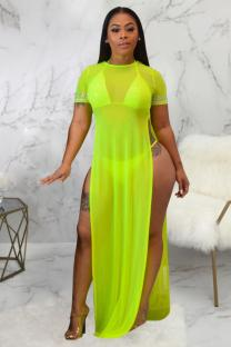 Fluorescent green Polyester Asymmetrical Patchwork perspective Solid Fashion Sexy  Cover-Ups & Beach Dresses SMR391279