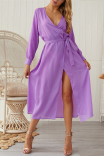 purple Chiffon Sexy Fashion Long Sleeves V Neck A-Line Mid-Calf bandage Solid  Casual Dresses GG451167