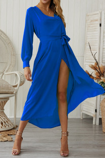 Blue Chiffon Sexy Fashion Long Sleeves V Neck A-Line Mid-Calf bandage Solid  Casual Dresses GG451167
