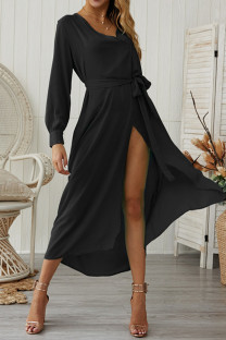 Black Chiffon Sexy Fashion Long Sleeves V Neck A-Line Mid-Calf bandage Solid  Casual Dresses GG451167