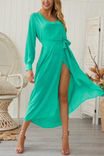 Green Chiffon Sexy Fashion Long Sleeves V Neck A-Line Mid-Calf bandage Solid  Casual Dresses GG451167
