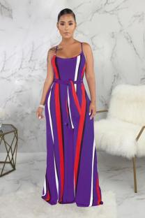 purple Polyester Sexy Fashion Spaghetti Strap Sleeveless Slip A-Line Ankle-Length Print Striped Patchwork asymmetrical  Print Dresses SMR391278