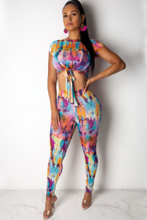 Multi-color Polyester Fashion Sexy Patchwork Tie Dye Print pencil Sleeveless  Two-piece Pants Set AM761233