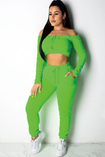 Green Polyester Fashion Sexy Solid Patchwork pencil Long Sleeve  Two-piece Pants Set AM761235