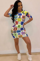 Multi-color Polyester Fashion Sexy Cap Sleeve Short Sleeves O neck Step Skirt Mini Print Patchwork  Club Dresses AM761231