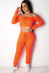 Orange Polyester Fashion Sexy Solid Patchwork pencil Long Sleeve  Two-piece Pants Set AM761235