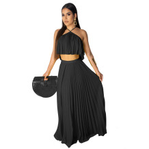 Black Polyester Sexy Fashion backless Bandage Two Piece Suits crop top asymmetrical Solid Draped Loose Sleeveless  Two-Piece Dress DL591187