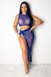 Blue Polyester Sexy Fashion Split Solid Mesh asymmetrical Slim fit Two Piece Suits crop top Skinny Sleeveless  Two-Piece Dress DL591189